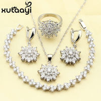 XUTAAYI Captivating Alluring Green Imitated Emerald 4PCS Jewelry Set 925 Sterling Silver Earrings Ring Necklace Pendant