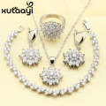 XUTAAYI Captivating Alluring Green Imitated Emerald 4PCS Jewelry Set 925 Sterling Silver Earrings Ring Necklace Pendant Bracelet