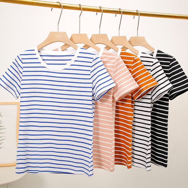100 Cotton Women Summer T shirt 2019 New Top Tees Striped Tshirts Casual Short Sleeve O