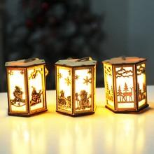 LED Light Wood House Cute Christmas Tree Elk Hanging Ornaments Holiday Decoration Home Decoration Desk Night Light 2019