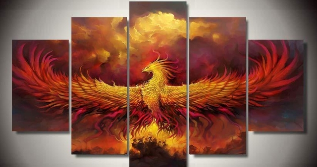 Art Modern Abstract Framed Phoenix Bird RIsing Art Home Decor 5 Piece  Canvas Decoration