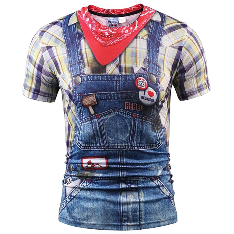 Fashion Hip Hop 3d T-shirt Men/women Summer Tops Tees Print Fake Plaid Shirts Jeans T shirt Stylish Tees Shirts Plus S-5XL R1867