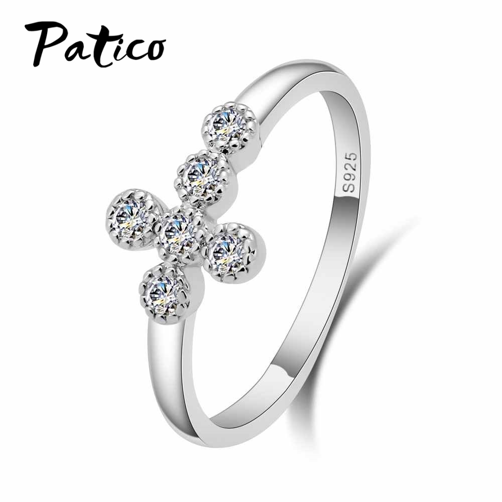 PATICO Rhinestone Finger Rings For Women Men 925 Sterling Silver Cross with Cubic Zirconia Jewelry Bague Prevent Allergy Anillos