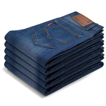 Summer lightweight men jeans new style straight solid casual long pants simple fashion slim comfortable high