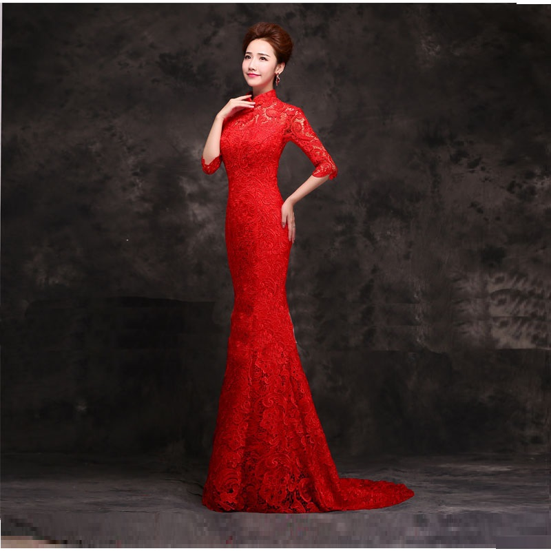 Half sleeve lace chinese red long cheongsam dresses for Red wedding dresses with sleeves