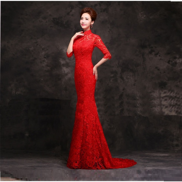Half Sleeve Lace Chinese Red Long Cheongsam Dresses Fashionable Mermaid Tail Style Wedding