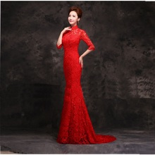 half sleeve lace chinese red long cheongsam dresses fashionable mermaid tail chinese style cheongsam wedding dresses