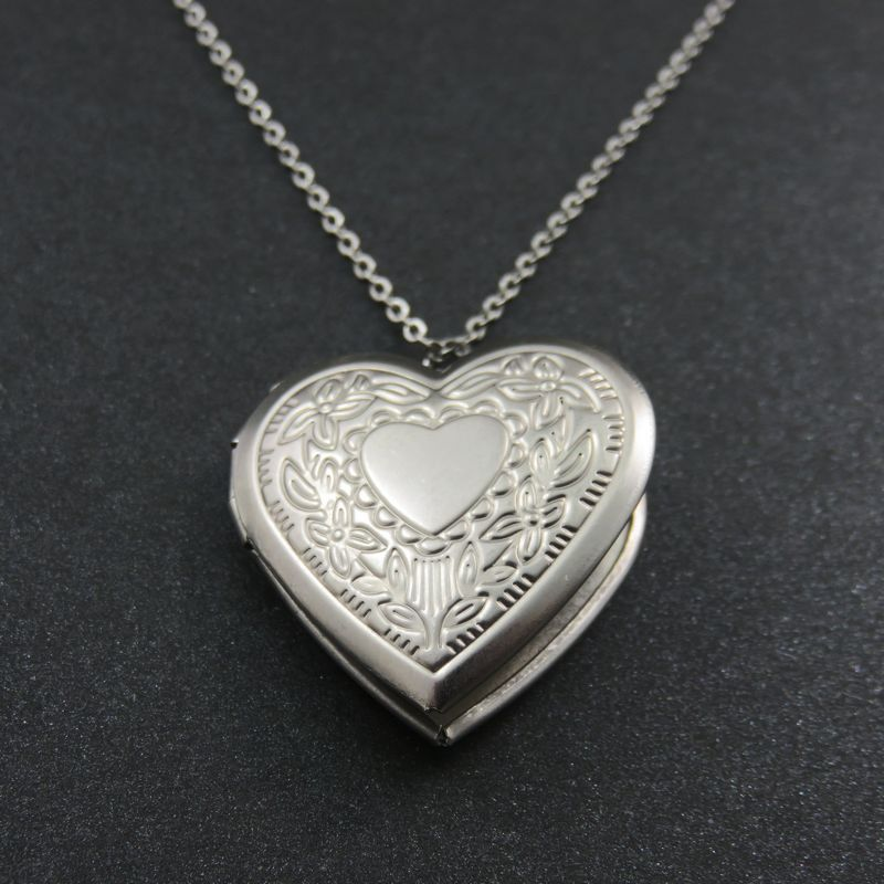 Can Open Lover Heart Photo Frames Locket Engraved Peach