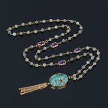 Unique Green Stone Necklace Labradorite Bead Chain Rectangle Pink Crystal Long Necklace DIY Gold Chain Tassel Necklace For Women стоимость