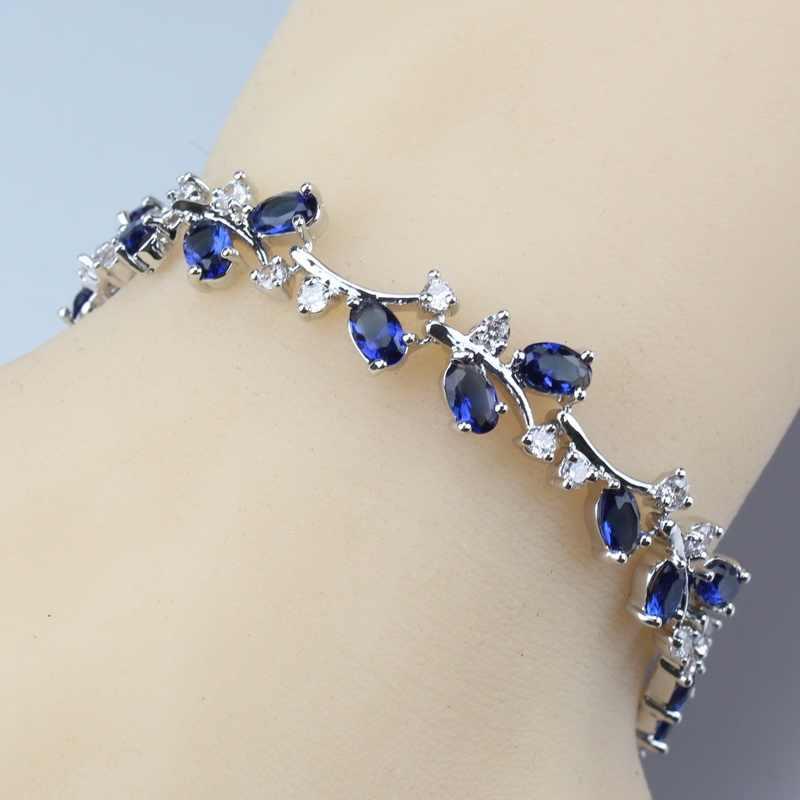 New Listing Christmas Presents 925 Sterling Silver Blue Zircon Water Drop Jewelry Sets For Women Earrings/Pendant/Bracelet/Ring