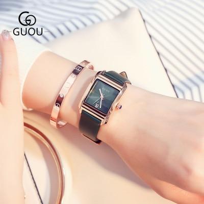 New Fashion Square dial Quartz Watch Women Luxury brand exquisite Ladies watches Genuine Leather Wristwatch relogio feminino