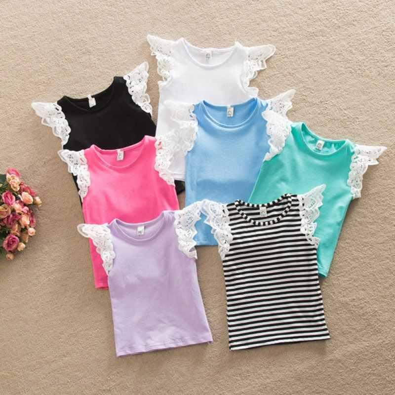 Летняя одежда для маленьких девочек воротник под горло кружевной рукав футболка верхняя жилетка