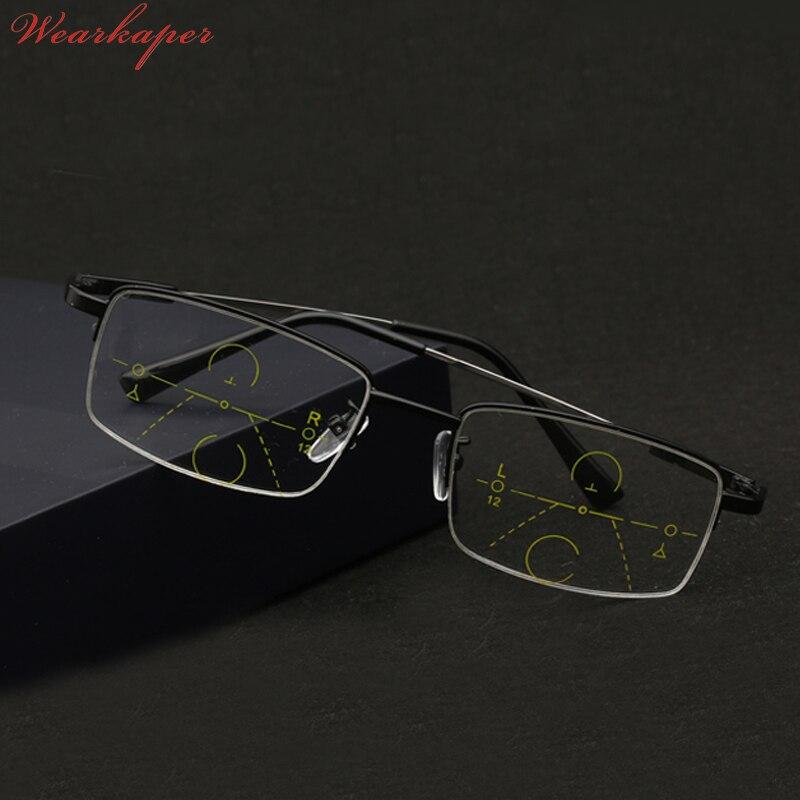 ee022b6a5ab2b WEARKAPER Memória Óculos de Meia armação de Titânio Óculos de Leitura  Multifocal Progressiva Bifocal Multifuncional 1.0-3.0