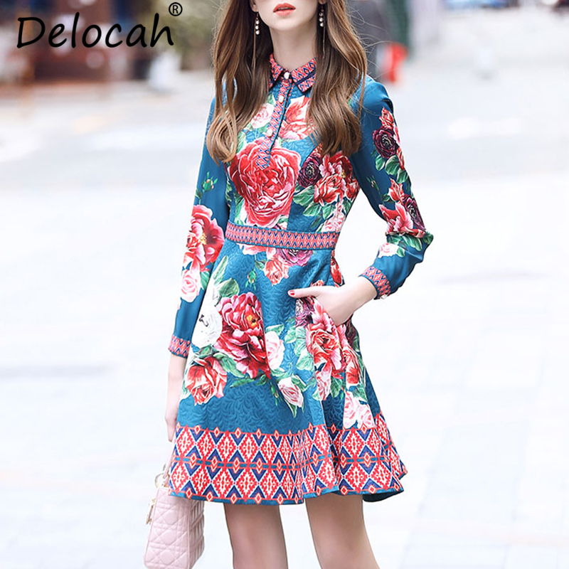 EXCELLENT QUALITY Newest 2019 Summer Designer Runway Dress Women s Long Sleeve Floral Sexy V neck