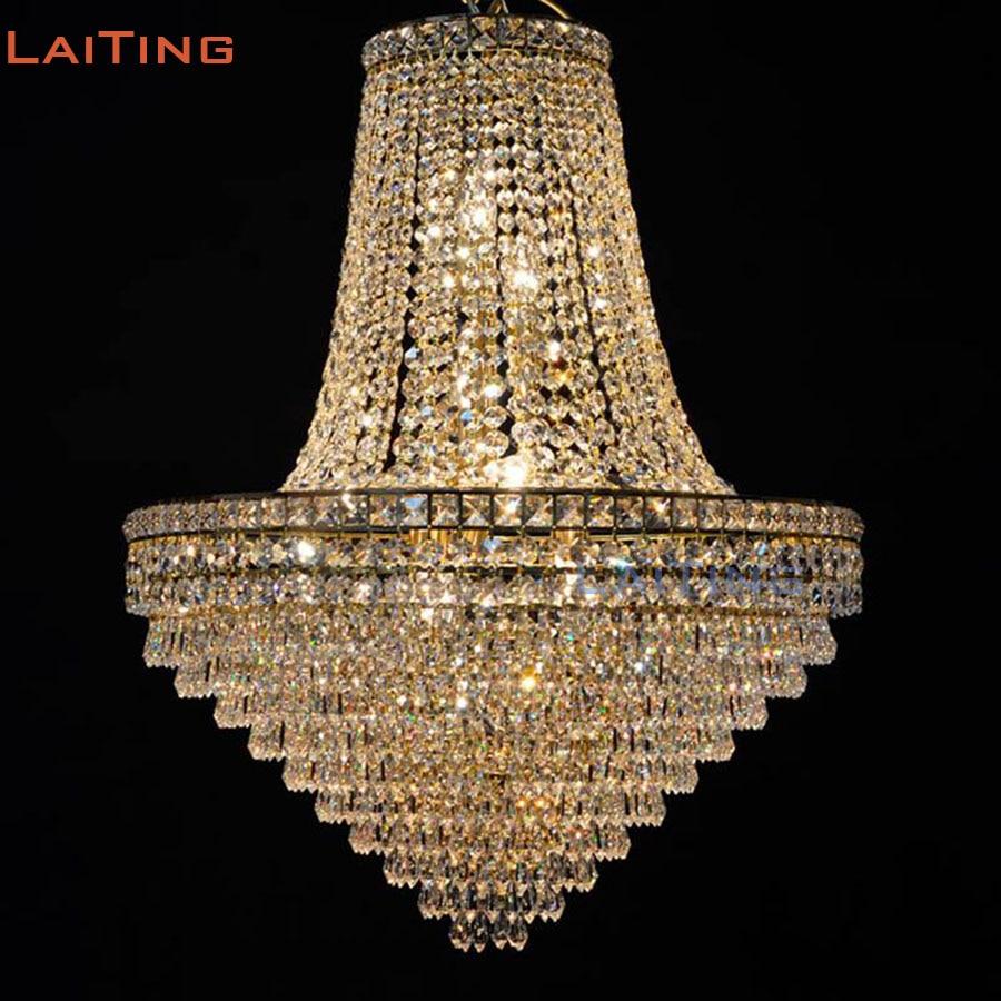 Lampadari Per Soggiorni Classici.Us 485 0 Laiting Illuminazione Classica Oro Dell Impero Semplice Lampadari Di Cristallo Soggiorno Lampada Per Diwali Decorazione Trasporto