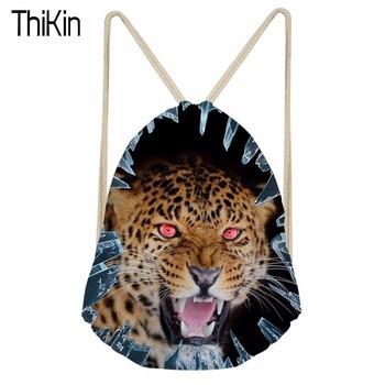 bf248c3ad117 ThiKin Для мужчин рюкзак Тигр шаблон шнурок мешок для фитнес хранения  Вышивка Крестом Пакет Сумки trekkoord rugzak Повседневное рюкзак Bolsa  Mochila