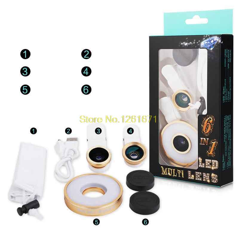 Fisheye Phone Camera Lens Kit LED Selfie Fill-in light + Macro + Wide Angle Lens for iPhone 7 7plus Samsung S8 S7 Universal V04 12