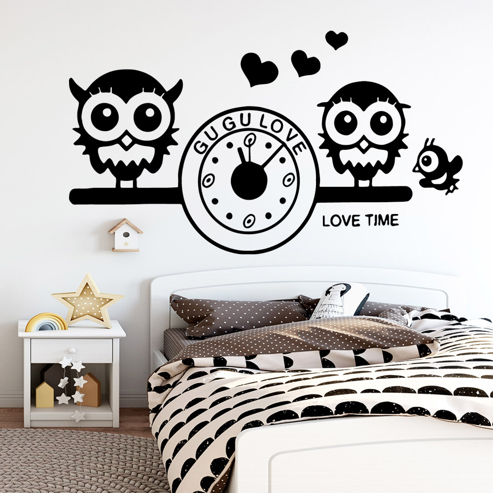 Drop Shipping Owl Clock Wall Stickers Modern Interior Art Wall Decoration For Kids Rooms Diy Home Decoration Mural Poster in Wall Stickers from Home Garden
