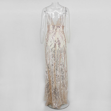COSYGAL Sequin Sexy Maxi Dress Women 2018 V Neck Sleeveless High Split Long Party Dress Spaghetti Strap Summer Club Vestidos