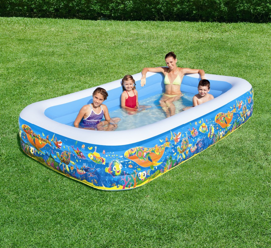 VILEAD 305*183CM Three Ring Rectangular Inflatable Pool Baby Bath Swimming Pool Ball Pool Family Swimming Pool  1160L Water vilead new american stripe water hammock pvc sleep tents pool row pattern lounge inflatable air floating bed for beach swimming