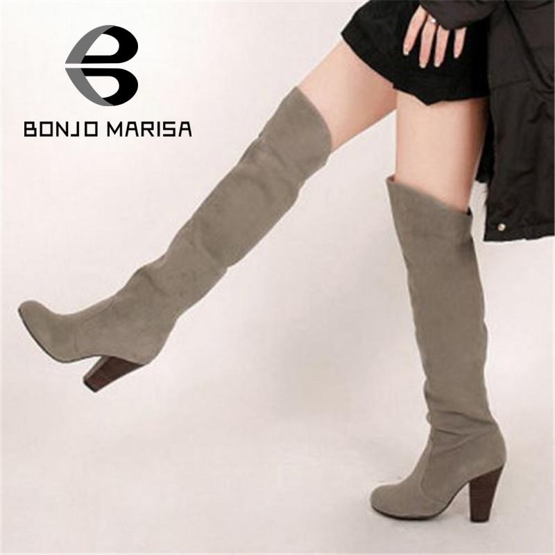 BONJOMARISA New Women Knee High Boots Sexy Chunky High Heels Fall Winter Shoes Round Toe Knight Snow Boots Big size 34-43 2015 hottest drop shipping vintage round toe strappy zip knee high boots studs chunky heel leather boots women high heels j459