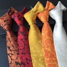 gravata 8cm slim jacquard de seda paisley 100% silk tie woven necktie purple corbata hombre stropdas heren zijde wit geweven das