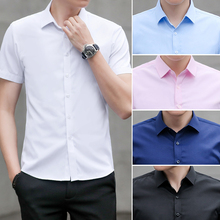 Solid Office Shirt Men Shirts 2019 New Summer Fashion Chemise Homme Mens Business Casual Short Sleeve Blouse