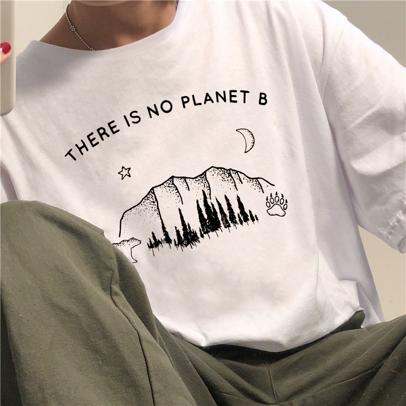 There is no planet b letter bear cartoon print female T-shirt New summer casual fashion Chic Harajuku O-Neck women's clothing