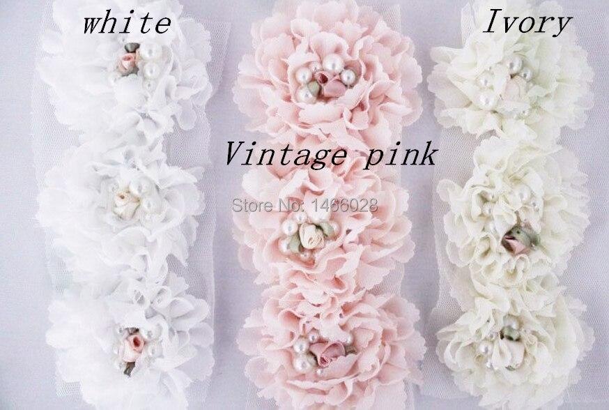 40 шт./лот, потрепанная шифоновая цветы с жемчугом, повязки для волос шифоновые цветы потертый 13 цветов