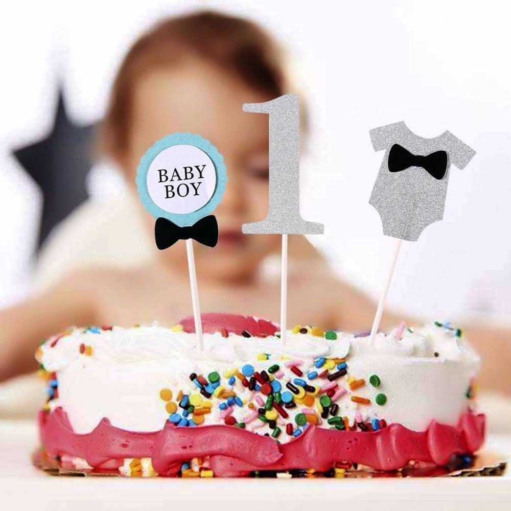 Bestoyard 3pcs Cake Topper Flag Baby Boy 1 Year Old Age Happy