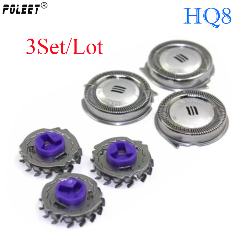 Poleet 3 Set/lot Replacement Shaver Head For Philips Razor Blade Hq3 Hq4 Hq8 Hq9 Hq56 Hq64 Sh30 Sh50 Sh70 Sh90 Rq32