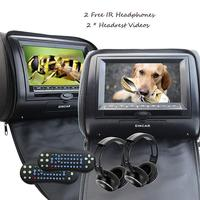 Black 2pcs 7 Headrest Monitor Car DVD Player DVD Automotivo+LED Digital Screen USB SD FM IR headphone car dvd headrest player
