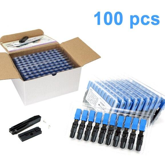 100 pièces intégré SC UPC fibre optique rapide connecteur FTTH monomode Fiber optique SC rapide connecteur SC adaptateur sur le terrain