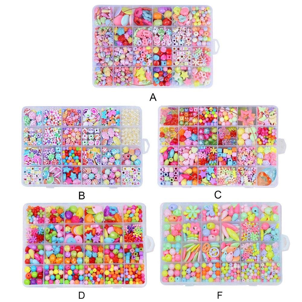 Enfants 550 pièces coloré acrylique perles Kit filles bricolage enfilage perles tissage Bracelet collier fabrication de bijoux perles jouets