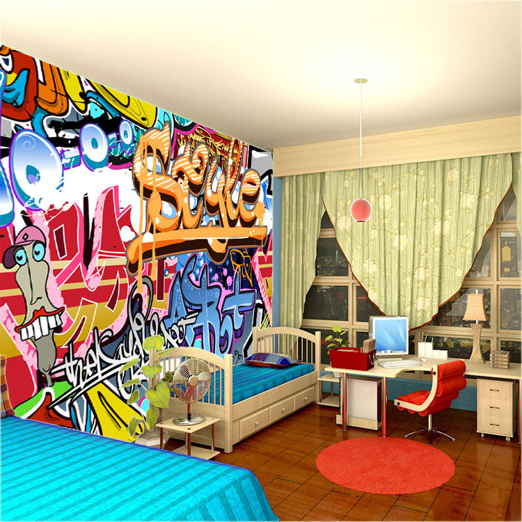 Wall murals for boys Painting graffiti on bedroom walls