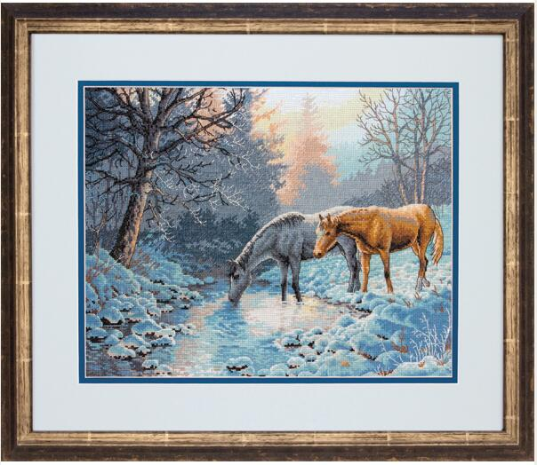 cs-2120 Cross Stitch Kit Frosty Morning Winter Snow Two Horses Drink in the River dim 35294