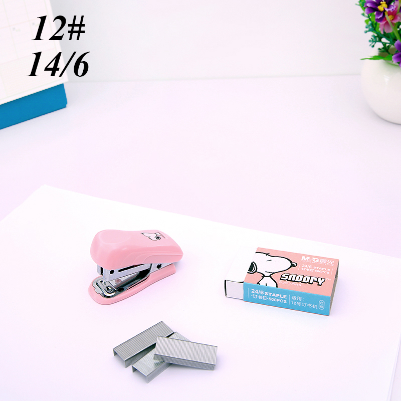 1 Pcs Mini Snoopy Stapler Set Cartoon Office School Supplies Staionery Paper Clip Binding Binder Book Sewer
