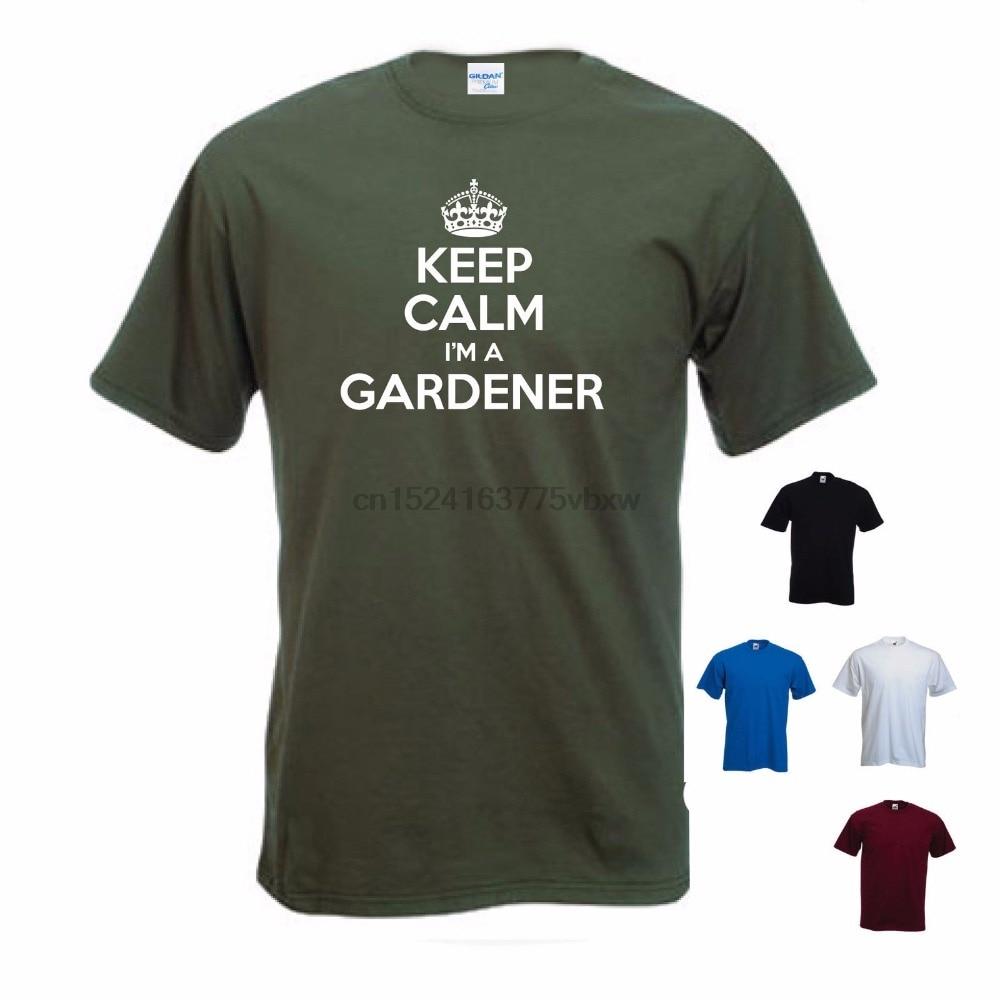 Newest Men Funny Tee Shirt Design Keep Calm I A Gardener Gardening