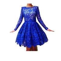 YAXIU 2019 Cocktail Dresses For Women Formal A Line Lace Long Sleeves Blue Dress Short Cocktail Dresses Plus Size