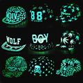NOVO 2016 Ms. fluorescente luminosa masculino chapéu hop chapéu Preto cap hop chapéu BTS EXO plana aba larga do chapéu de beisebol DO MENINO B25