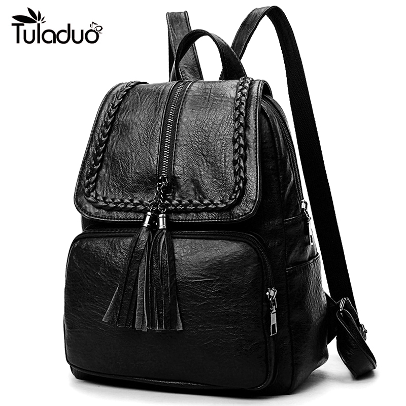 Fashion Korean Women Casual Backpack Leather Tassels Zipper Bags Big Capacity Girls School Shoulder Bag Mochila Feminina New
