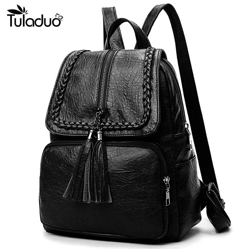 Fashion Korean Women Casual Backpack Leather Tassels Zipper Bags Big Capacity Girls School Shoulder Bag Mochila Feminina New