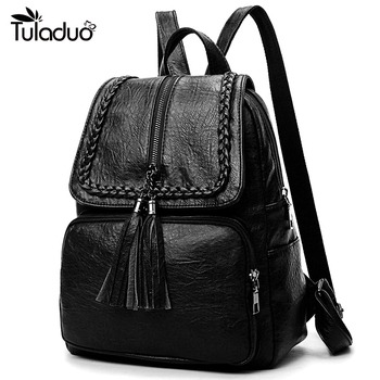 b7a16b8bfb985 Moda Kore Kadın rahat sırt çantası Deri Püsküller fermuarlı çantalar Büyük  Kapasiteli Kız Okul omuzdan askili çanta Mochila Feminina Yeni