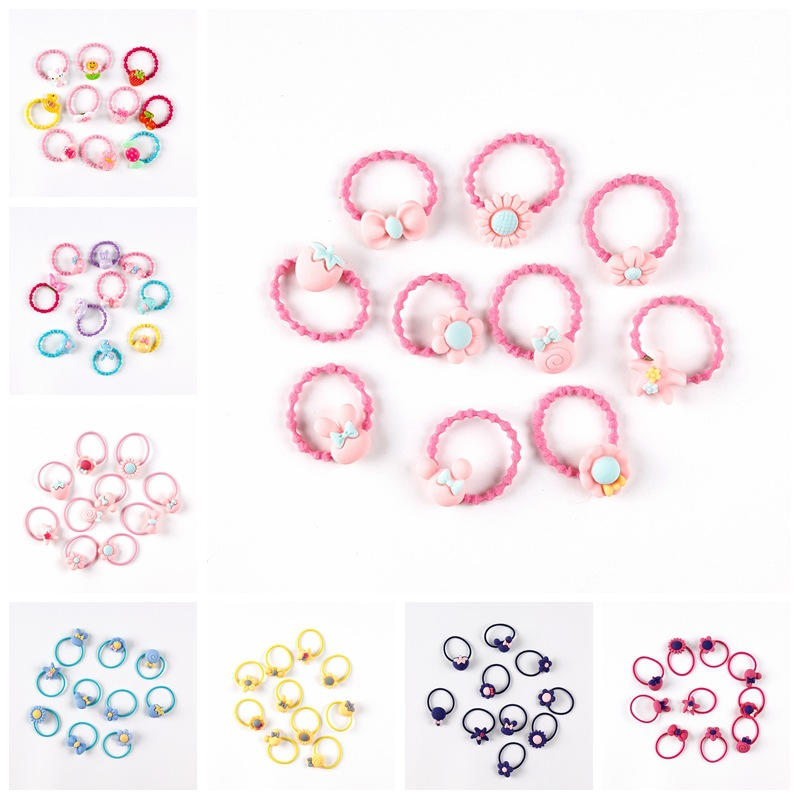 20Pcs/set Cute Princess Candy Headwear Kids Baby Headdress Children Hair Ropes Delicate Elastic Hair Band Girls Accessories