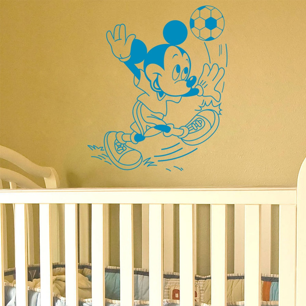home decor ZY8462 wall decals Carved Mickey play football kids room ...