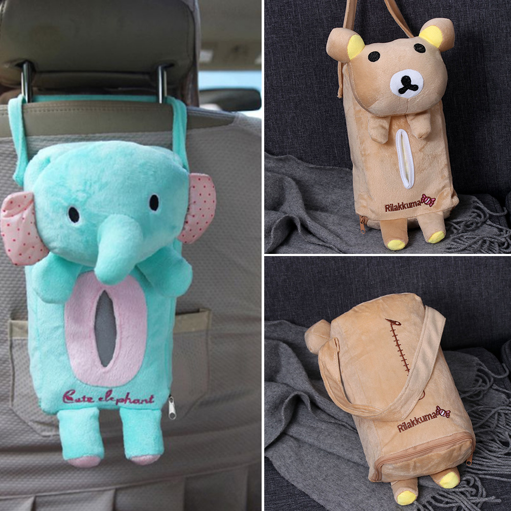 Cartoon Hanging Bag Cute Cartoon Car Seat Back Cover Holder Paper Napkin Box Tissue Box Car Accessories Styling