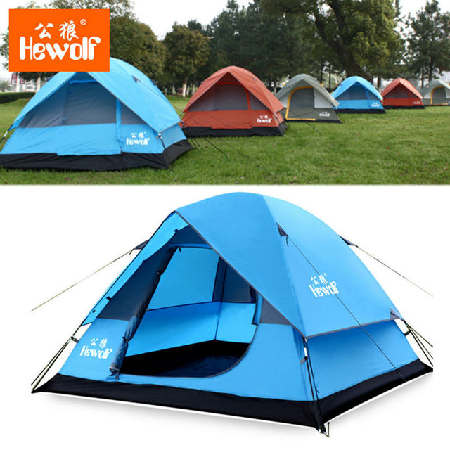 Hewolf 3 In 1 Camping Tent Ultra Anti-UV Double Layer Outdoor Hiking Beach  Waterproof Tent 3 Person Large Barraca Para Camping