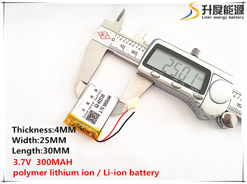 3.7v,300mah, Polymer Lithium Ion / Li-ion Battery For Toy,power Bank,gps,mp3,mp4,cell Phone,speaker Attractive Fashion 402530 sd Disciplined 2pcs
