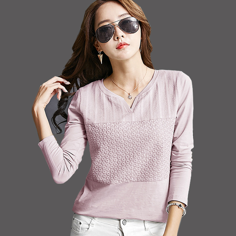 T-shirt Femme Tops 2019 Korean Fashion T-shirt Frauen Baumwolle Langarm T-shirt Frau Rosa Plus Size Stickerei Casual T-Shirt
