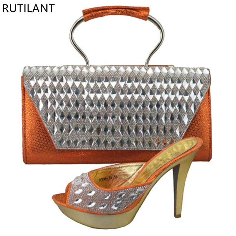 Royal Set Italiennes Dames Chaussures Strass Ensemble Décoré Sac Avec bleu Party Ensembles Sacs Et Assorti Orange Femme aaRwSnxr